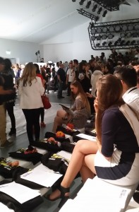 Amber Le Bon waiting for   the Holly Fulton SS15 show to start
